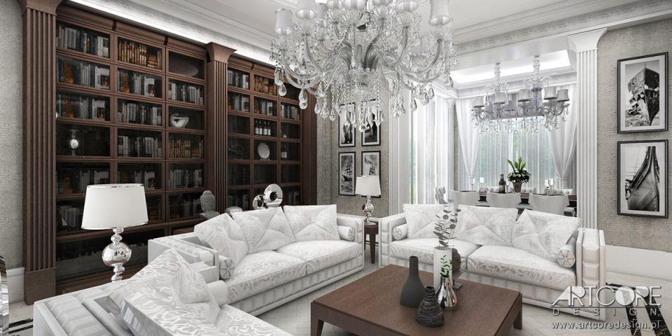 klasyczna biblioteczka w- domu