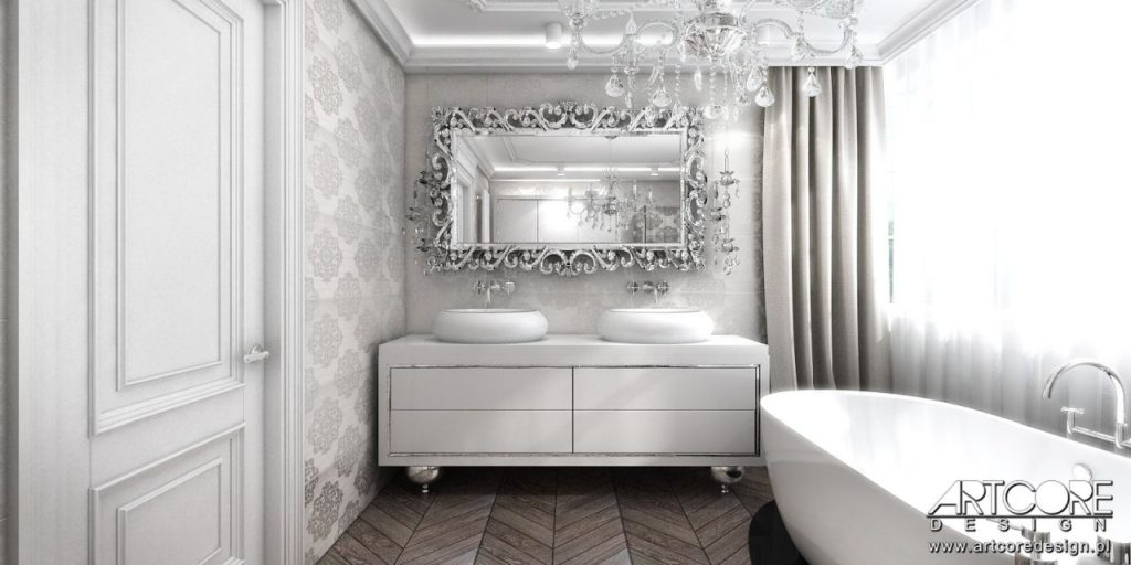 łazienka glamour z pięknym lustrem