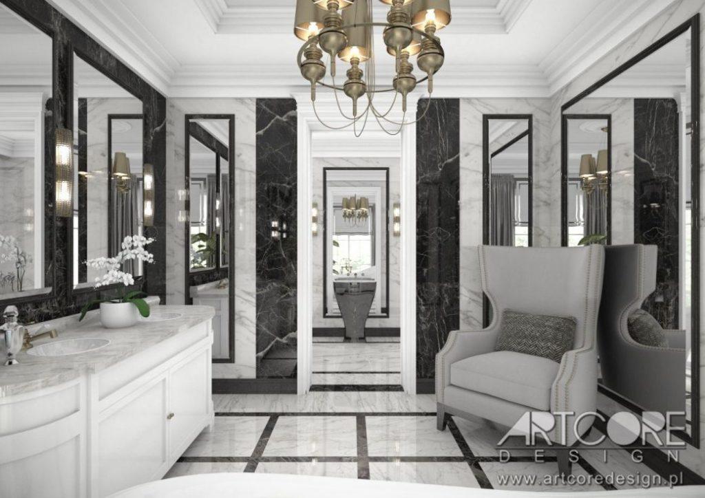 łazienka wnętrze z lustrem lustra na ścianach
