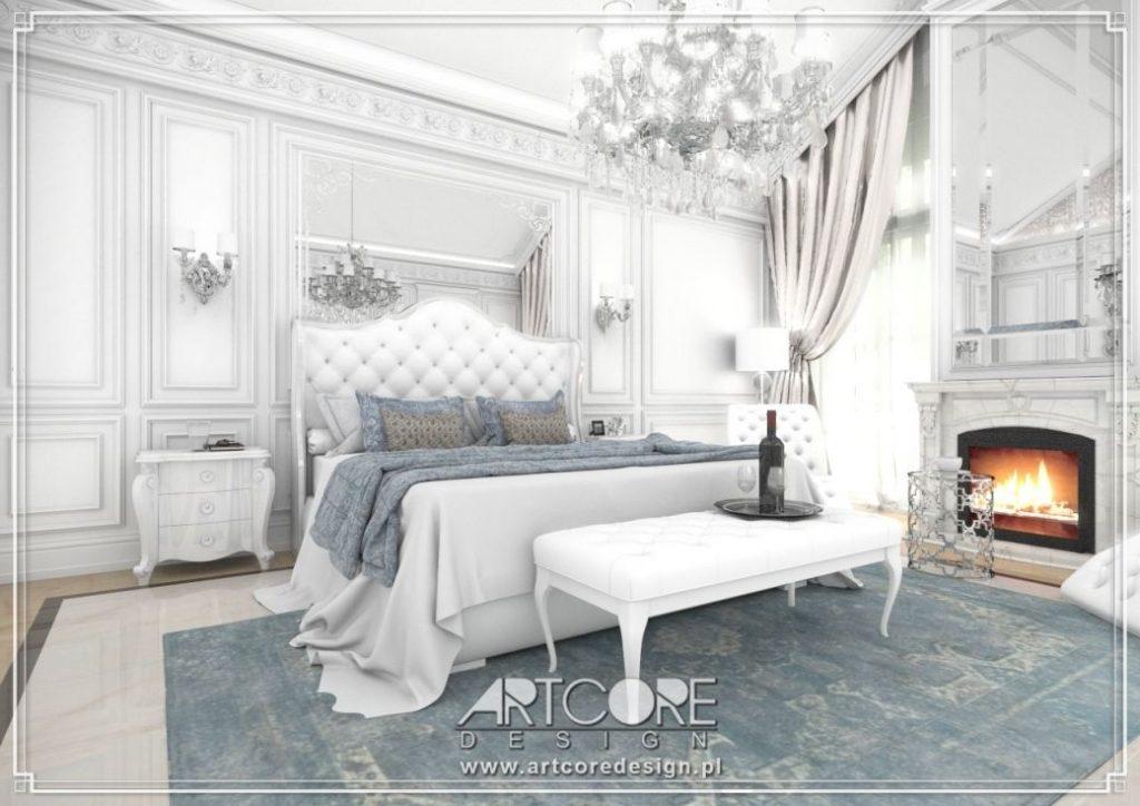 biała sypialnia z kominkiem