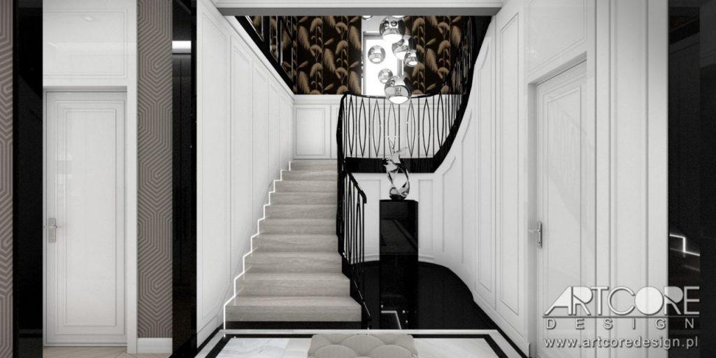 hol ze schodami wnętrze domu stylowe stopnie