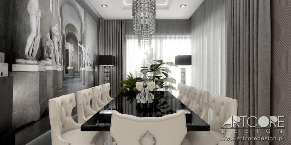 jadalnia lampa kryształowa drewniany stół wnętrze projekt