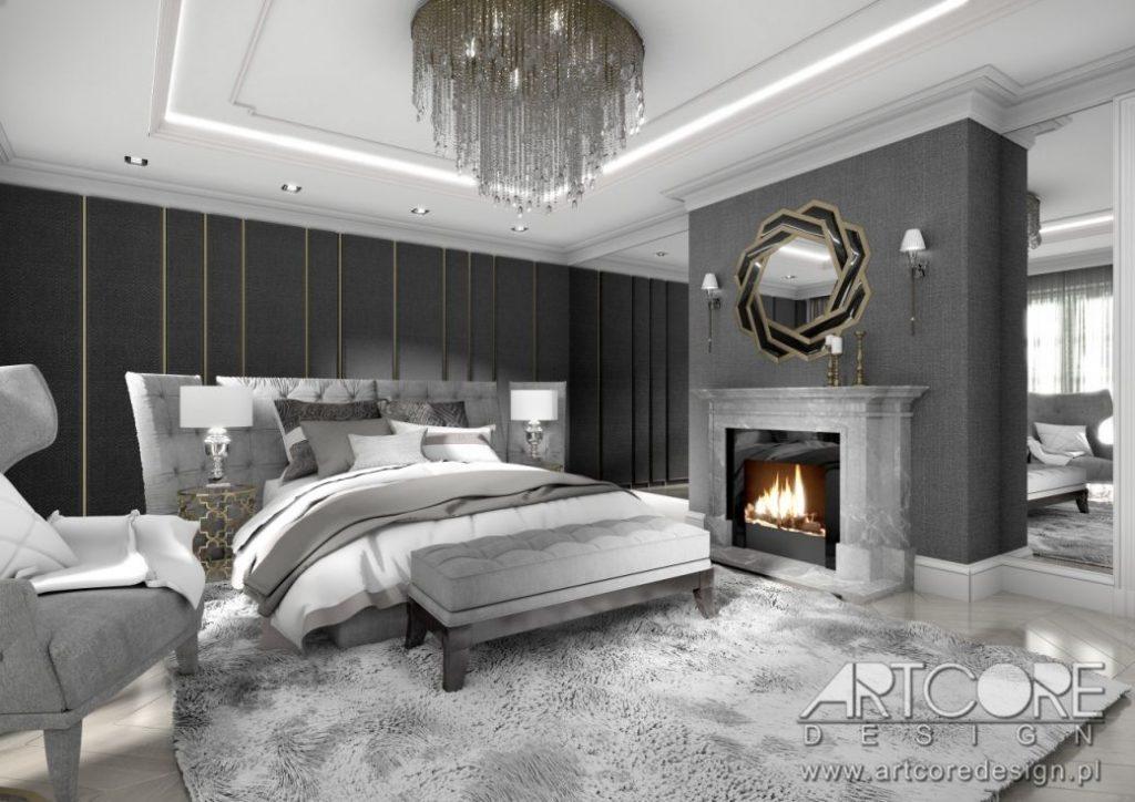 luksusowa sypialnia z kominkiem projekt
