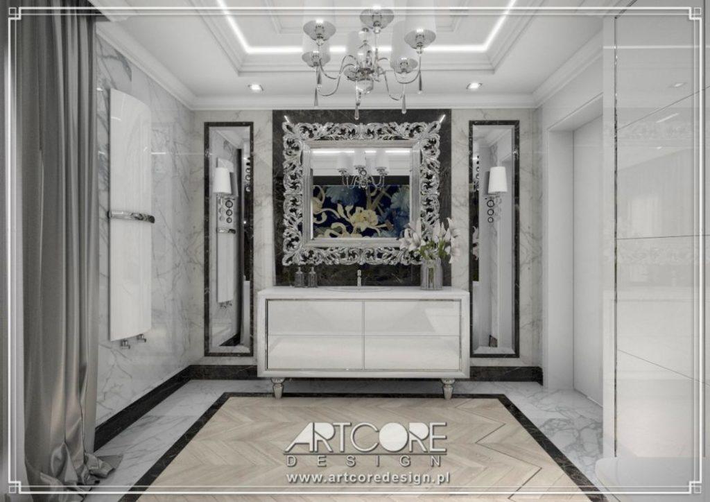 łazienka glamour lustro w ramie