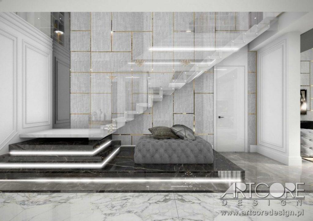 nowoczesne schody we wnętrzu domu projekt