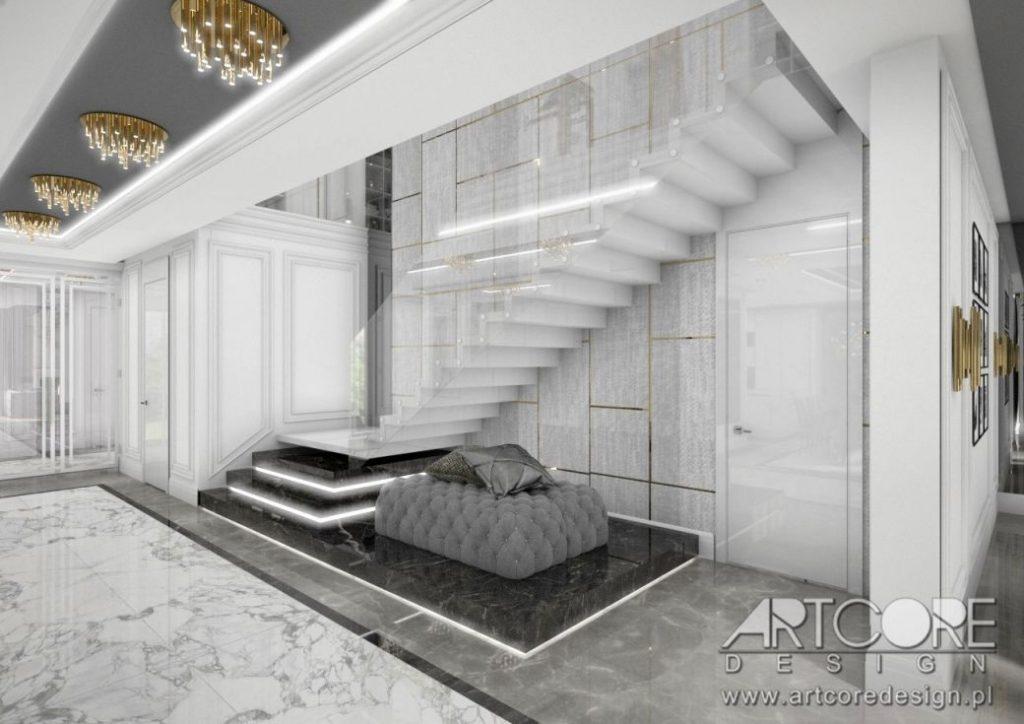 projekt wnętrza schody podświetlane nowoczesne