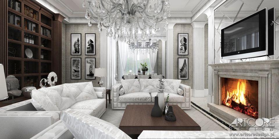 projektowanie wnętrz stylowych luksusowy salon z kominkiem
