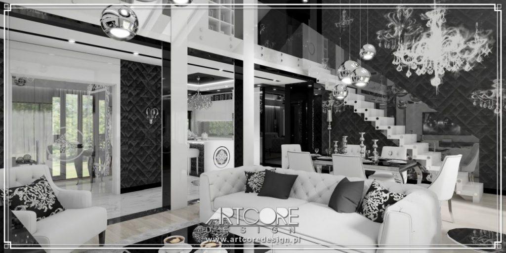 wnętrze glamour biało czarny salon