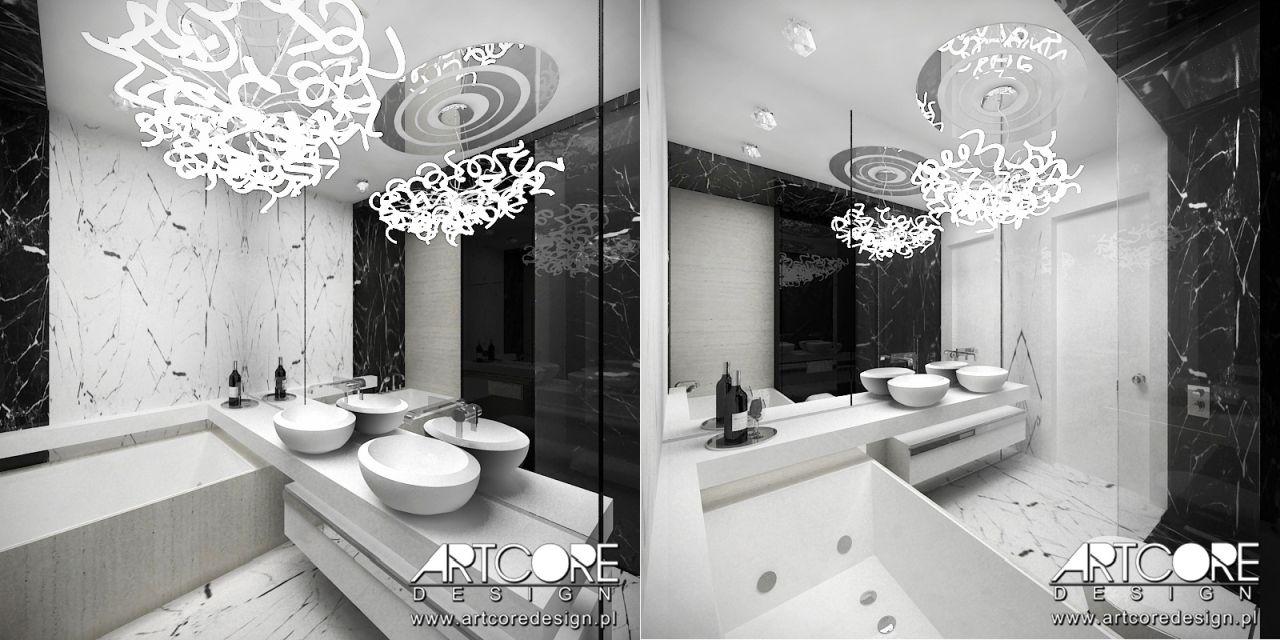 nowoczesna biało czarna łazienka w marmurze