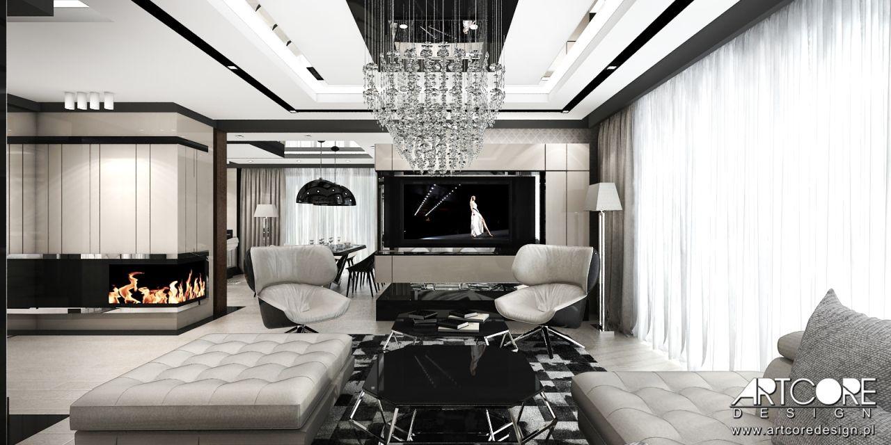 nowoczesny kominek w salonie projektowanie wnętrz