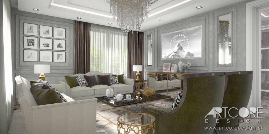 projekt wnętrza białystok salon klasyczny
