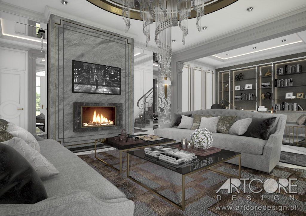 projekt wnetrza domu cieszyn luksusowego salonu