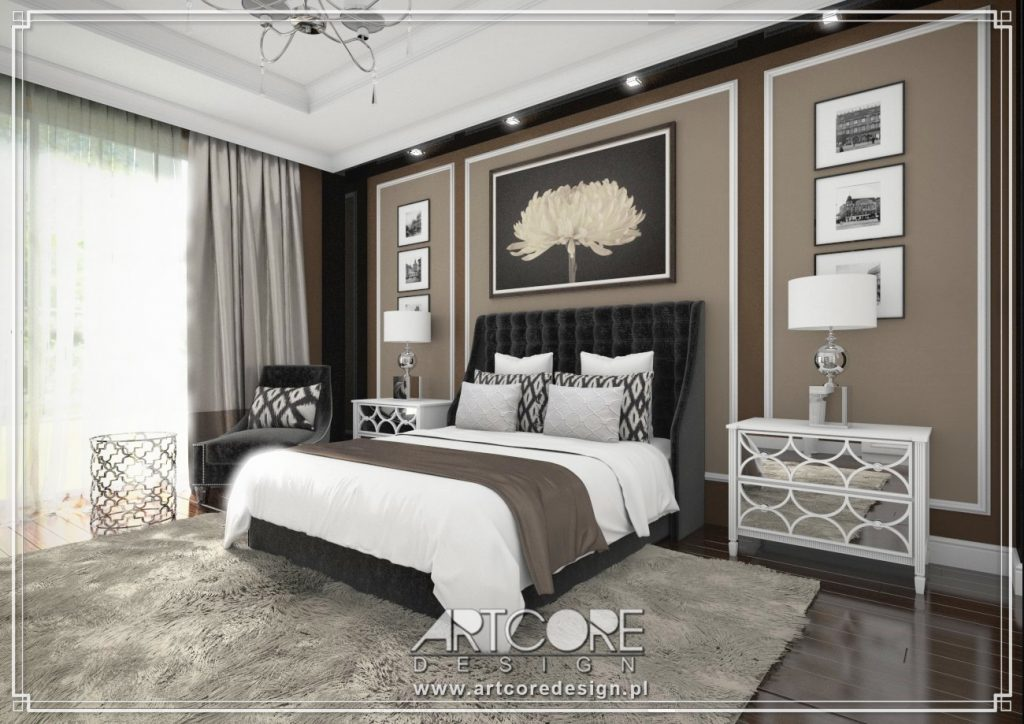 projekt wnętrza sypialni sosnowiec apartament