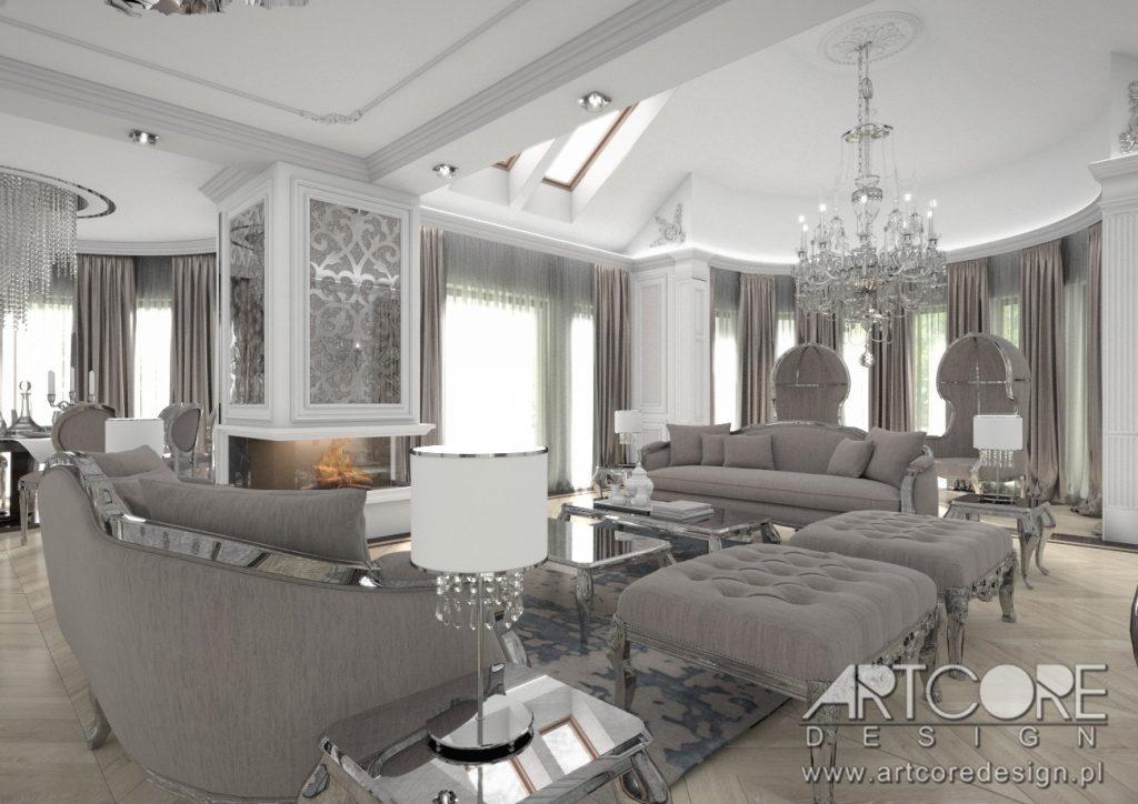 projekt wnętrza w olsztyn salon styl klasyczny