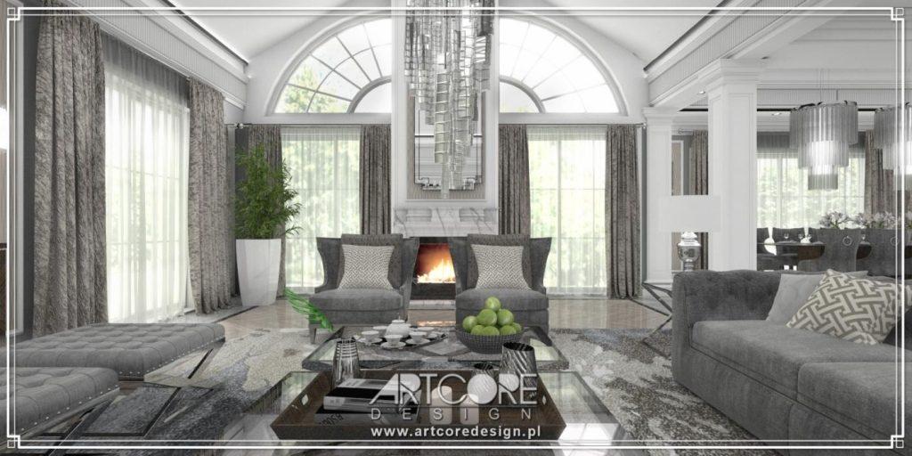 projektowanie wnętrz kępno salon z kominkiem