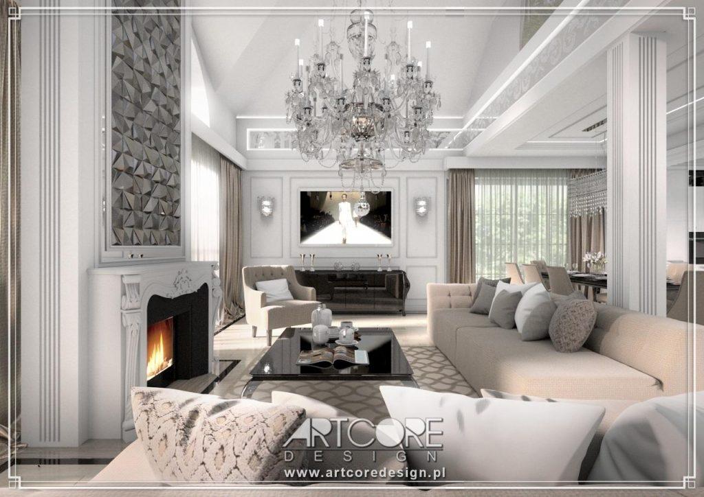 projektowanie wnętrz siedlce salon z żyrandolem i kominkiem