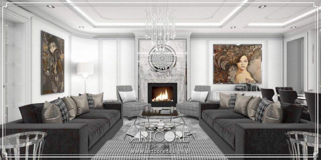 projekt wnętrza salonu ze sztukaterią włocławek
